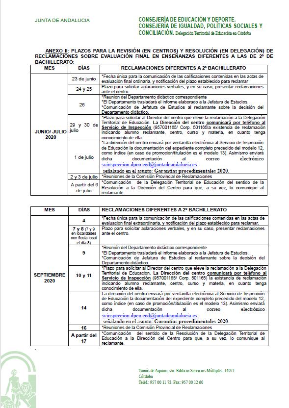 Anexo II. Plazos para la revisión de reclamaciones sobre evaluación en enseñanzas de ESO y FP.