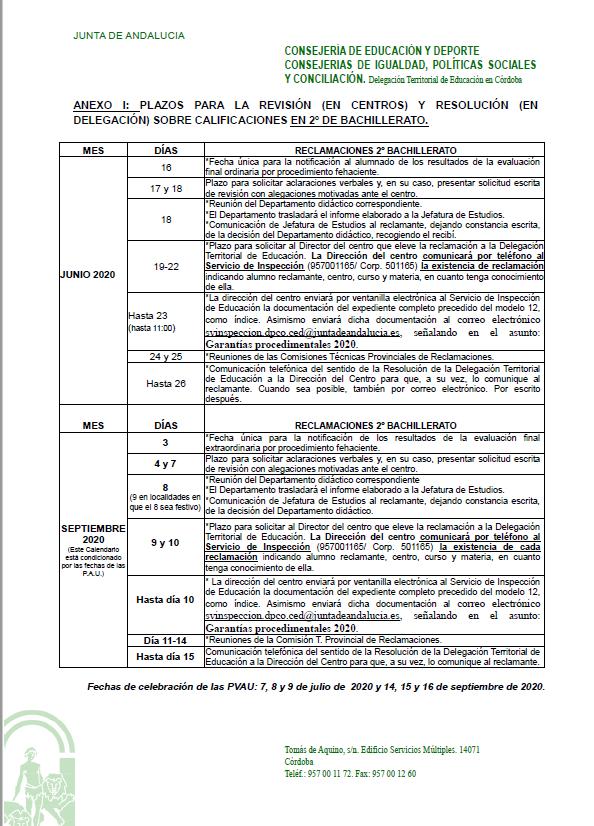 Anexo I. Plazos para la revisión sobre calificaciones en 2º de Bachillerato
